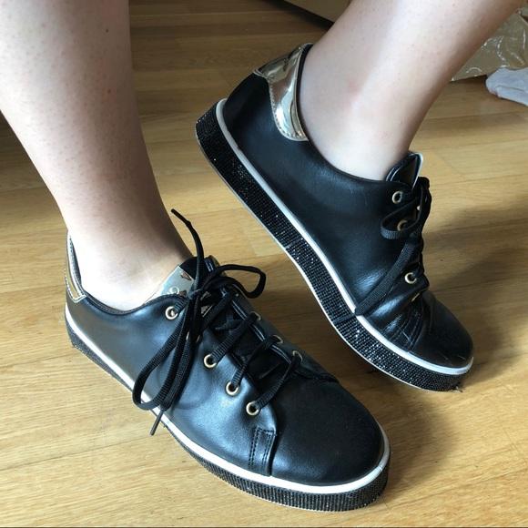 meet f3986 9ece0 Liu Jo Black Leather Sneakers - Size 40 (9/9.5/10)